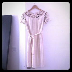 Miss Sixty Cream Dress with Details on Sleeve Sz 4
